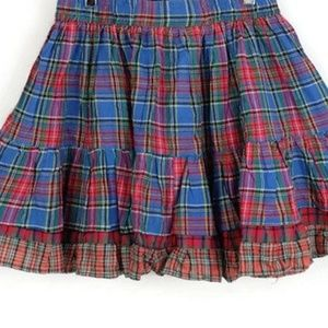 Vintage Pleated Plaid Skirt w. Contrast Trim - M/L